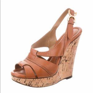 Chloe Slingback Leather Wedges Size 39/9